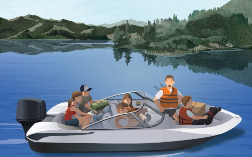 Family wearing lifejackets riding in a bowrider boat. Illustration.